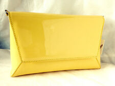 NEW YELLOW FAUX PATENT LEATHER EVENING DAY CLUTCH BAG WEDDING PROM PARTY CLUB