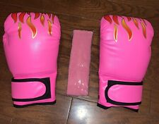 NEW Kids/Youth 4.9 oz. Boxing Training Sparring Gloves, Pink with Headband
