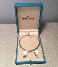 Georg Jensen Denmark Antique Sterling Silver Bangle Bracelet & Earrings Set Box