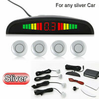 Silver Car LED Display Rear Reverse Parking 4 Sensors Reversing Buzzer Alarm Kit