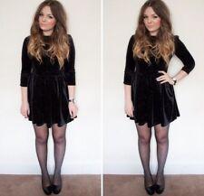 Topshop Black Velvet Glitter Spot Christmas Dress  Size 10
