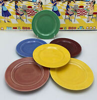 "6 Homer Laughlin Harlequin 6"" Bread & Butter Plates Vintage Yellow Maroon Rose"