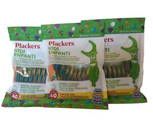 Plackers Kids Dental Flossers 3- Pack 120 Total- Mixed Berry - Childrens Floss