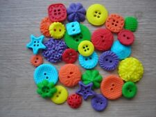 30 edible bright rainbow buttons for cupcake / cake decorations