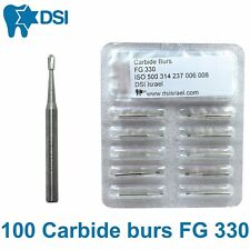 100x Dsi Dental Carbide Burs Bits Friction Grip Fg 330 Head 08mm 6 Blades