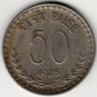 1975 INDIA FIFTY 50 PAISE  WORLD COIN NICE!