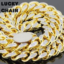 """Diamond Cuban Link Chain Necklace36""""x18mm532g A25 18K Gold Finish Iced Out Lab"""
