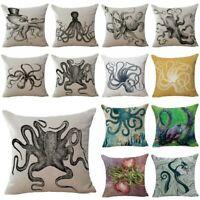 Home Decor Octopus Inkfish Cotton Linen Pillow Case Sofa Throw Cushion Cover