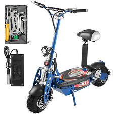 Folding Electric Scooter with Large Wheels Powerful 36v 1000w Motor Blue