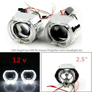"2.5""LED Angel Eye HID Bi-Xenon Projector Lens Headlight Kit Safety&Red Devil Eye"