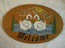 Vintage Folk Art Swans Welcome Sign Beautiful Painting Landscape Scene on wood