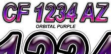 Orbital Purple Custom Boat Registration Numbers Decals Vinyl Lettering Stickers
