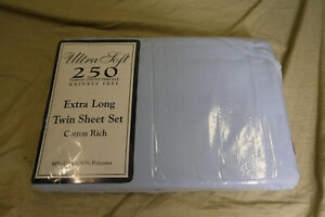 Ultra Soft 250 Thread Count Percale Extra Long Twin Cotton Sheet Set -Blue- NEW
