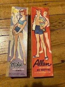 Allan and Midge Dolls In Box 1962 & 1963 Mattel Stock NO. 1000 & 860