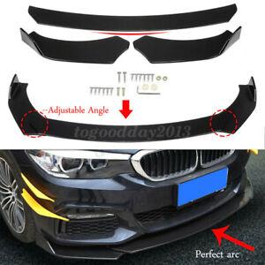 Universal Car Front Bumper Lip Spoiler Splitter Kit Gloss Black Body Protector