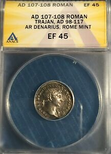 ROMAN EMPIRE - TRAJAN = AD 107-108 = ANACS XF-45 = AR Denarius =Sharp= Fortuna!