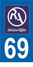 Département 69 MOTO 1 autocollant style plaque moto 3 x 6 cm RHONE ALPES LOGO RA