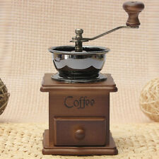 Retro Classic Manual Coffe Machine Grinder Coffee Mill Vintage Wooden Hand Crank