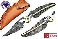 """Damascus Steel Handmade 7.5"""" Leaf Folding Pocket Knife - Full Tang Damascus F02"""