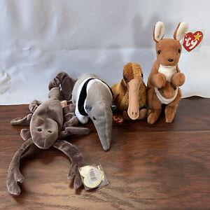 LOT of 4 Ty Beanie Babies STINGER Scorpion + ANTS + BEAK Kiwi + POUCH Kangaroo