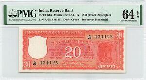 India 20 Rupees 1972 P-61a PMG 64 EPQ