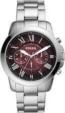 Fossil Men's Garrett FS5628 44mm Red Dial Stainless Steel Watch