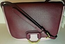 Fossil Womens Crossbody Stella Pink & Burgundy Leather Saddle Bag Purse Handbag
