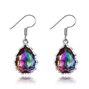 925 Silver Pear 10 * 14 MM MYSTIC Rainbow Topaz Drop Dangle Earrings Wholesale