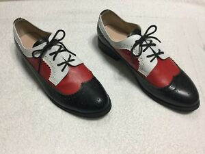 Handmade Luxury Tri-Color Red & Black w/ White Trim Italian Leather Shoes Size 9