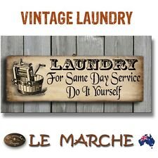"""👖 LAUNDRY Vintage """"For Same Day"""" Wooden Rustic Plaque / Sign (FREE POST) 👖"""