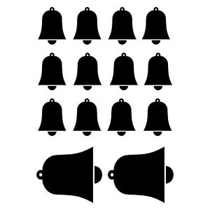 Christmas Bells Stickers Window Decoration Black  Party Kids Decal 14pc N