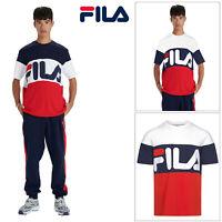 Mens Fila Vialli Cotton T-Shirt Retro Colour Block Short Sleeve Activewear Tee
