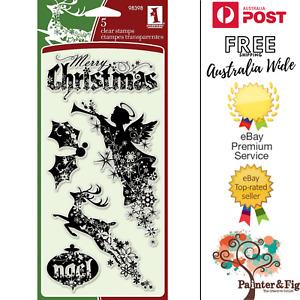 Merry Christmas Stamps - Angel, Reindeer, Noel, Holly - Inkadinkado