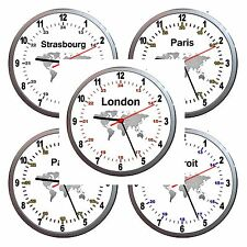 NEW 24hr Military World Time Zone Wall Clock Can be personalised CHOICE A COLOUR