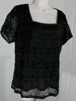 East 5th Women's Top Size XL Black Stretch Lace Lined Short Sleeve
