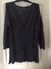 Navy/Camel Mix Hand Knitted Wool Blend Low V Neck Jumper With L/Sleeves Size 16