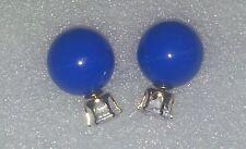 BRAND NEW ROUND BLUE & CLEAR RHINESTONE DOUBLE BALL STUD EARRINGS
