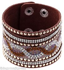 Marron en Cuir Synthétique Bracelet Bracelet Bracelet Femme Cristal Strass A59