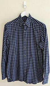 Ermenegildo Zegna - Navy Blue Check Button-Up Shirt - Cotton - Medium