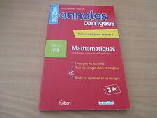 bac 2006 serie ES annales corrigees mathematique