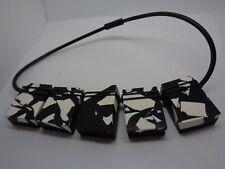 60`S STYLE BLACK & WHITE NECKLACE LOZENGE PUSH RUBBER CLASP PARTY PROM FESTIVAL
