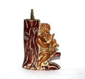 Brass Baby Angel Pen Stand Girl Playing Violin on Tree Design Pen Holder EK653