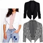 New Womens Ladies Cropped Style Waterfall Blazer Jacket Coat Top Plus Size 8-26