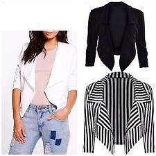 New Womens Ladies Cropped Style Waterfall Blazer Jacket Coat Top Plus Size 8-26