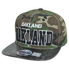 Oakland City Dark Animal Snake Skin Faux Camouflage Snapback Flat Bill Hat Cap
