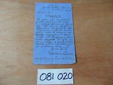 19th C. WELSH MINING HAND WRITTEN MANUSCRIPT LETTER 1873 GILLFACH COLLIERY SIGND