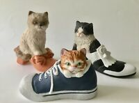 Lot of 3 Hamilton Collection Puss in Boots Sculpture Porcelain Cats