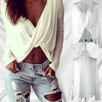 New Fashion Women Ladies Blouse Sexy Shirt Long Sleeve White Tops Free Shipping