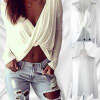 New Fashion Women Ladies Blouse Sexy Shirt Long Sleeve White Tops Free Shipping