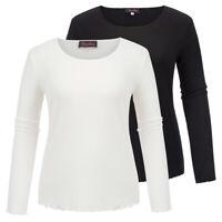 Women's Plus Size Long Sleeve Crew Neck Ruffled Hem Basic T-Shirt Cotton Top Tee